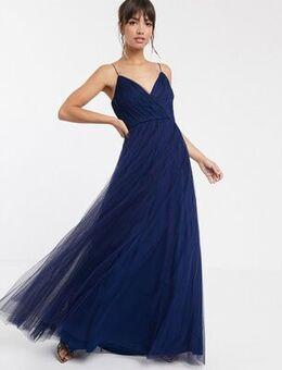 Cami pleated tulle maxi dress-Navy