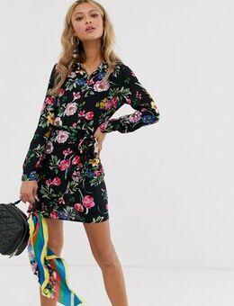 Frill wrap dress in bright floral print-Black