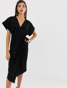 Wrap midi dress-Black