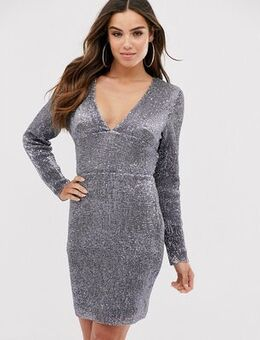 Plunge neck open back mini dress-Silver