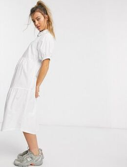 Midaxi smock dress with tiered skirt and puff sleeves in cotton-White