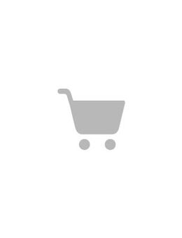 Lace wrap dress with ruffle cuff and hem in navy