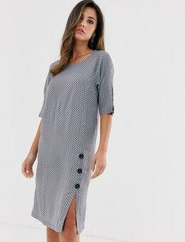 Tile print dress with split-Blue